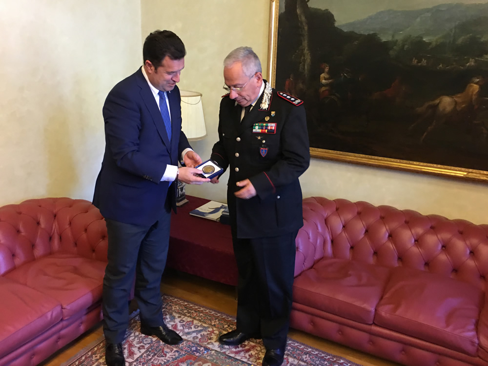 Iacop incontra il comandante interregionale carabinieri Visone