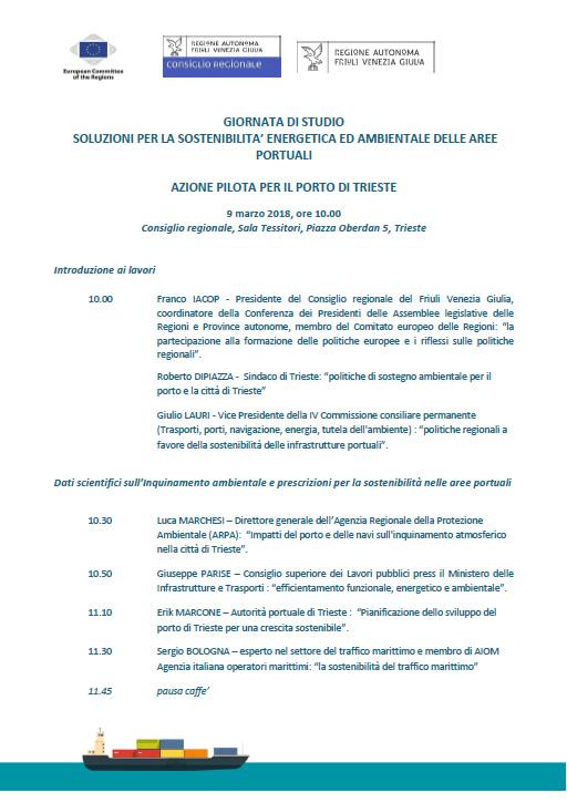 Sostenibilità energetica delle aree portuali, convegno a Trieste